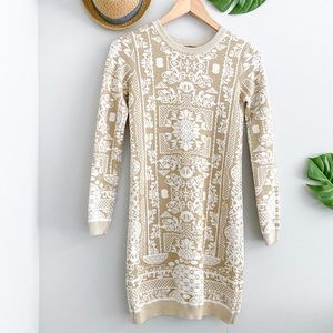 TOPSHOP Ivory Gold Printed Knit Sweater Mini Dress